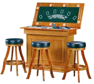Casino Bar With 4 Game Table Settings   Oak Or Maple