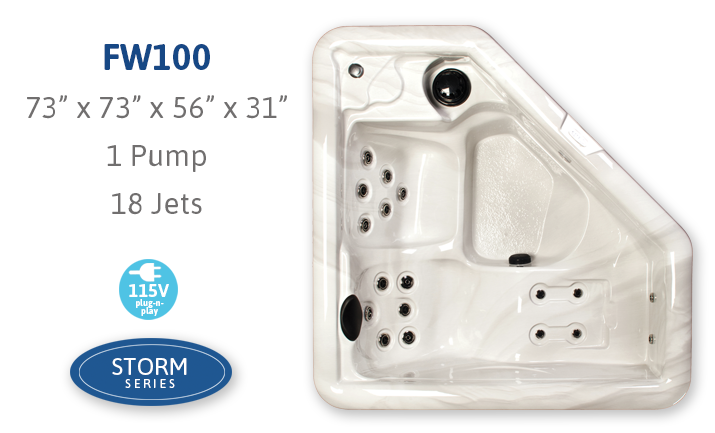 FW100 spa with 1 pump and 18 jets
